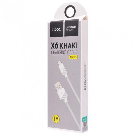 Кабель USB-MicroUSB Hoco X6 Khaki, белый