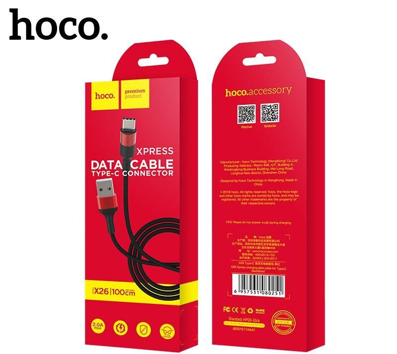 Кабель USB-Type-C Hoco X26 Xpress, черно-красный 1м
