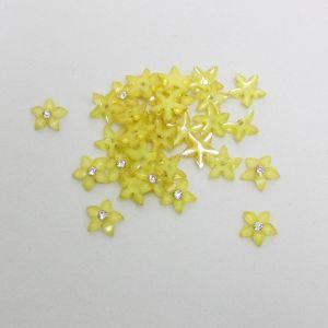 """Кабошон со стразой """"Цветок острые листики"""" 12 мм, цвет желтый (1уп = 50шт)"""