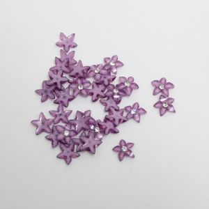 """Кабошон со стразой """"Цветок острые листики"""" 12 мм, цвет сиреневый (1уп = 50шт)"""