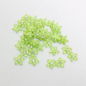"""`Кабошон со стразой """"Цветок острые листики"""" 12 мм, цвет зеленый (1уп = 10шт)"""