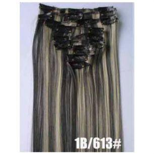 Искусственные термостойкие волосы на заколках №1В/613 (55 см) - 7 заколок, 100 гр.