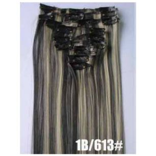 Искусственные термостойкие волосы на заколках №1В/613 (55 см) - 12 заколок, 130 гр.