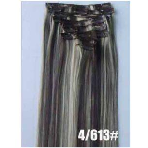 Искусственные термостойкие волосы на заколках №4/613 (55 см) - 12 заколок, 130 гр.