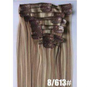 Искусственные термостойкие волосы на заколках №8/613 (55 см) - 7 заколок, 100 гр.