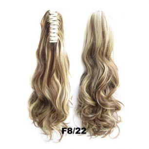 Искусственные термостойкие волосы на зажиме волнистые №F8/22 (55 см) -  170 гр.