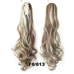 Искусственные термостойкие волосы на зажиме волнистые №F8/613 (55 см) -  170 гр.