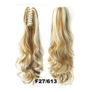 Искусственные термостойкие волосы на зажиме волнистые №F27/613 (55 см) -  170 гр.