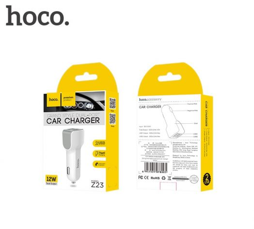 Автомобильное зарядное устройство Hoco Z23, 2xUSB, белый