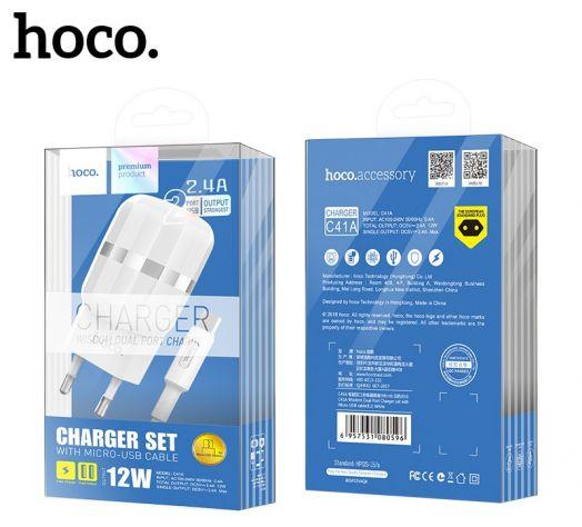 Сетевое зарядное устройство Hoco C41A, 2xUSB, MicroUSB, белый