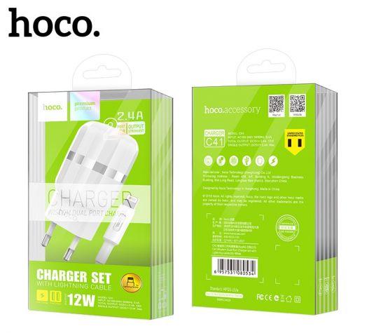 Сетевое зарядное устройство Hoco C41A, 2xUSB, Lightning, белый