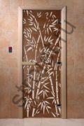"Дверь ""Бамбук и бабочки"" (бронза матовое) 190х70, 8 мм, 3 петли, коробка ольха"