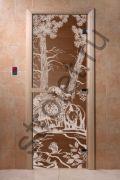 """Дверь """"Мишки"""" (бронза матовая) 190х70, 8 мм, 3 петли, коробка ольха."""