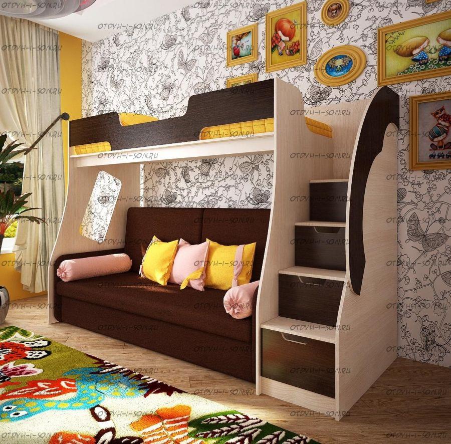 Кровать-чердак с диваном Фанки Кидз 23 (арт 23/1 + Бланес-1)