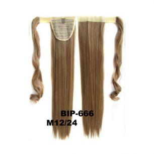 Искусственные термостойкие волосы - хвост прямые №M012/24 (55 см) -  90 гр.