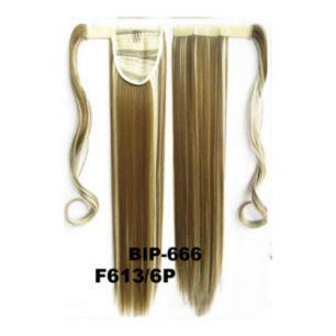 Искусственные термостойкие волосы - хвост прямые №F613/6P (55 см) -  90 гр.