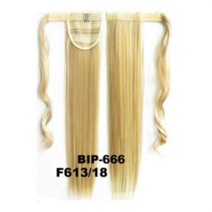 Искусственные термостойкие волосы - хвост прямые №F613/18 (55 см) -  90 гр.