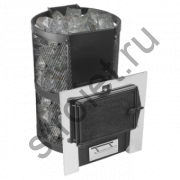 Печь для бани Конвектика Кольчуга 14 - 18 с парогенератором и чуг.дверцей со стеклом антрацит