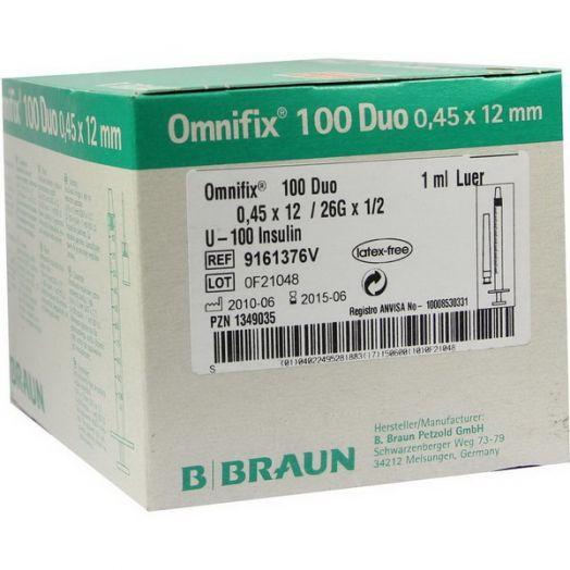 Шприц инсулиновый Omnifix U100 1 мл с приложенной иглой 26G ( 0,45x12мм)