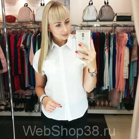 Белая шифоновая рубашка с коротким рукавом реглан