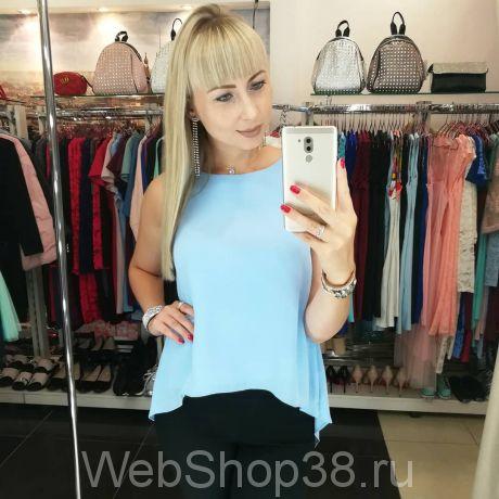Голубая блузка из шифона с красивой спинкой