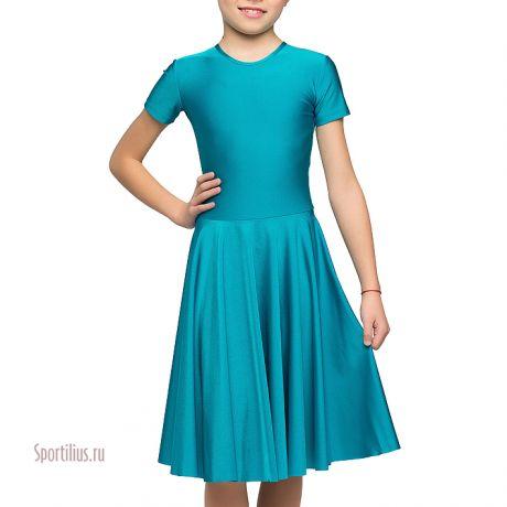 Платье из перламутрового бифлекса, бирюзовое