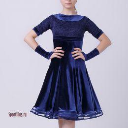 """Платье для танцев """"Неаполь"""" темно-синий бархат"""