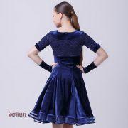 Платье для танцев темно-синий бархат