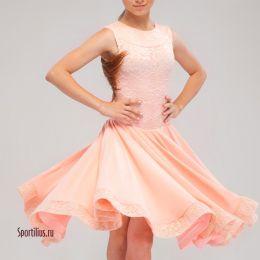 """Платье для бальных танцев """"Валенсия"""", персиковое"""