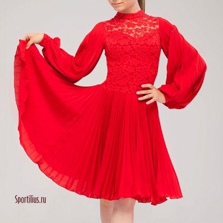 красное платье с длинным рукавом для танцев