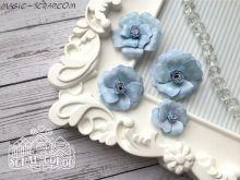 """Набор бумажных цветов """"Базовый голубой 3"""""""