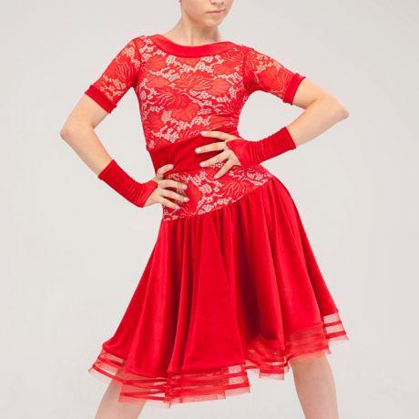 """Платье для бальных танцев """"Белиссимо"""" красное"""