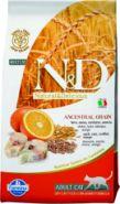 Фармина N&D Cat LG низкозерновой корм для взрослых кошек рыба с апельсином, 10 кг