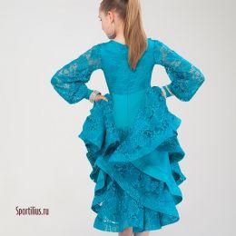 Платье c гипюром, бирюзовое