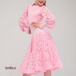 Платье с гипюром, розовое