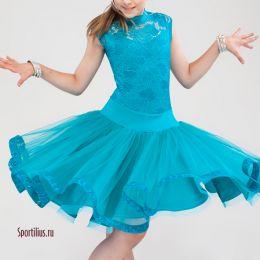 Рейтинговое платье для танцев, бирюзовое