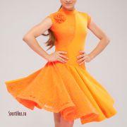 Оранжевое платье для бальных танцев