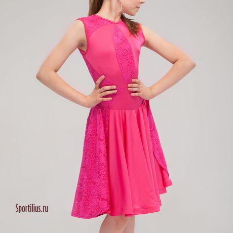 """Платье для бальных танцев """"Афина"""" малиновое"""