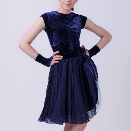 Топ и юбка для бальных танцев в темно синем цвете