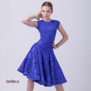 платье из гипюра для спортивных бальных танцев синее