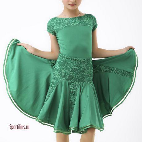 Зеленое платье для спортивных бальных танцев