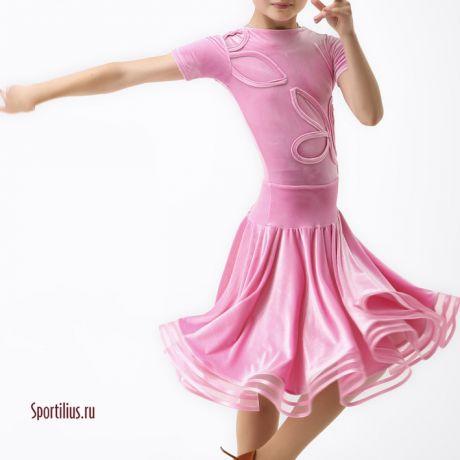 платье велюровое розовое для девочки