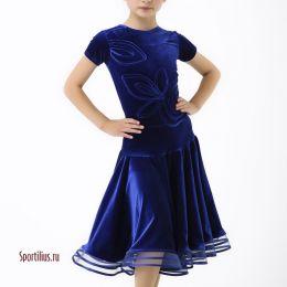 """Платье для спортивных танцев """"Джейн"""" синее"""