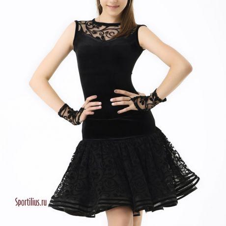 черное эффектное платье для спортивных бальных танцев