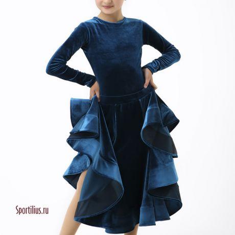 Закрытое рейтинговое платье синего цвета