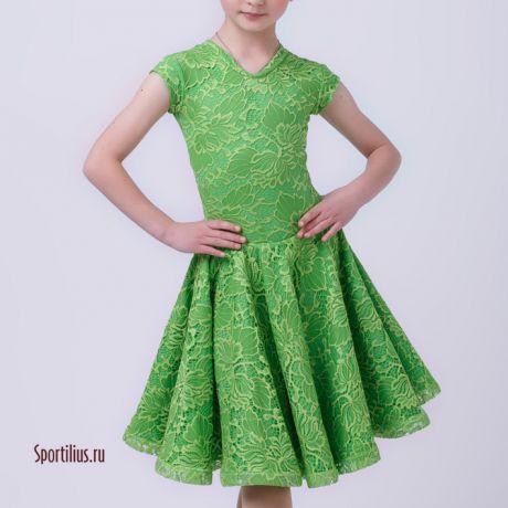 Платье зеленое из гипюра для бальных танцев