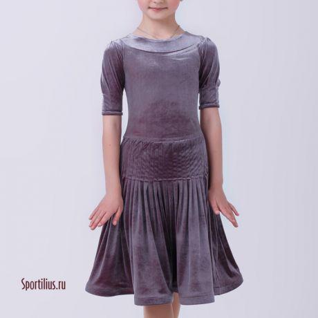 Бархатное рейтинговое платье серое