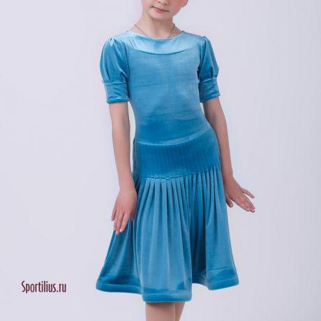 """Платье для бальных танцев """"Лилия"""" голубое"""