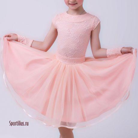 нежное платье для танцев цвета чайной розы