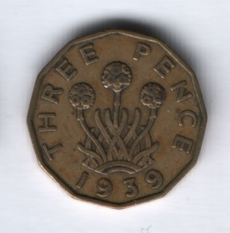 3 пенса 1939 года Великобритания